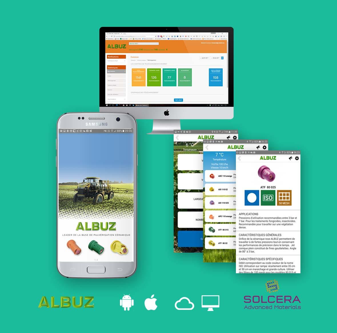 """Plus d'information sur notre living app intégrée """"Albuz"""" : Agrandissement d'un réseau de distribution international appuyé par une app innovative pour iOS et Android, qui révolutionne la sélection produit grâce à des calcul interactif multifactoriel intégrant une base de donnée Big Data avec plus de 40.0000 stations de mesure"""