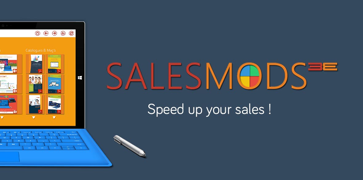 SalesMods 3E, the first modular solution for data storytelling to increase sales of your sales team, especially optimized for hybrid tablets (e.g. Surface Pro)