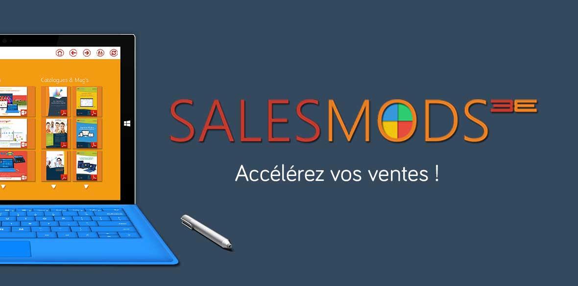 SalesMods 3E, la première solution modulaire de data storytelling pour augmenter les ventes de votre force commerciale, spécialement optimisée pour tablettes hybrides (type Surface Pro)